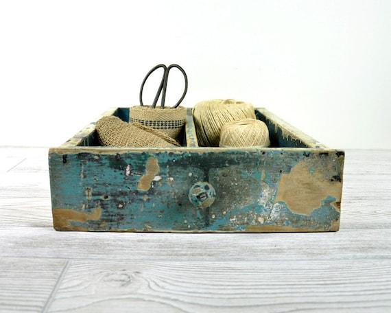 Vintage Rustic Painted Wood Drawer / Wooden Box