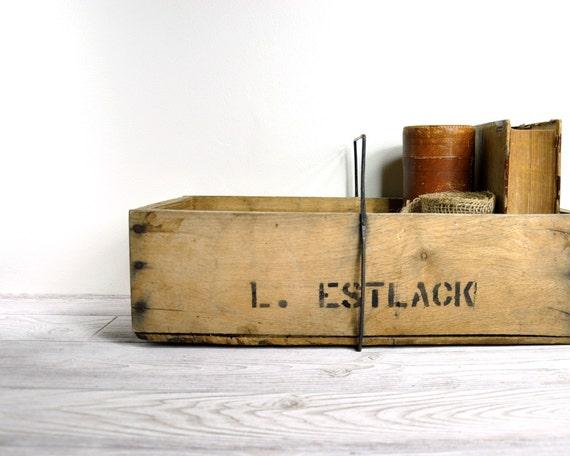 Vintage Rustic Trug / Wood Box / Industrial Storage