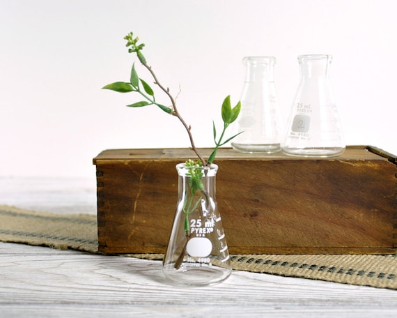 Vintage Pyrex Flasks Laboratory Beakers / Industrial Decor