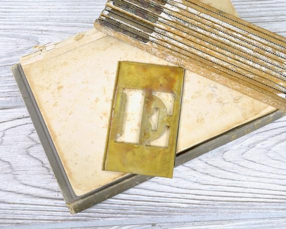 Vintage Brass Stencil / Letter E Brass Stencil