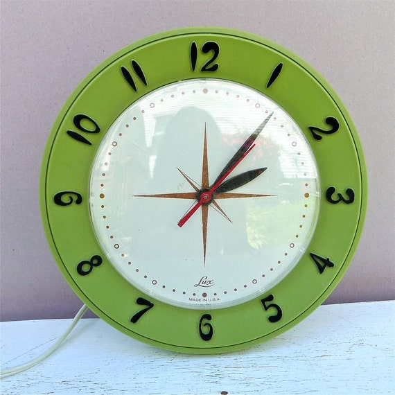 Vintage Lux Avocado Green Wall Clock 1950's
