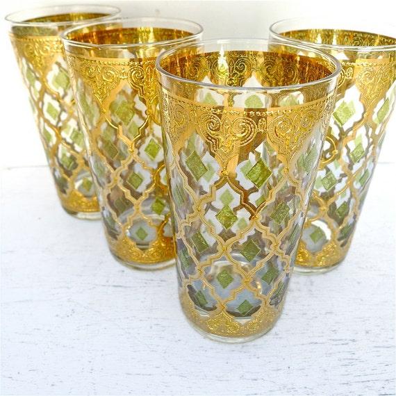 Vintage culver valencia glassware set of 8 1960 39 s - Vintage valencia ...