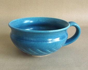 Blue ceramic Bowl, Kitchen Serving Chowder Mug Handmade Ceramic Denim Blue, Cereal bowl, soup bowl, nautical ocean blue