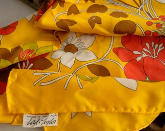 Vintage 1960s Lord & Taylor Rich Golden Yellow Scarf - Italian Floral Motif