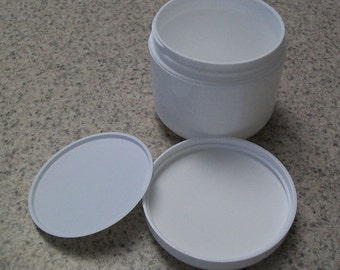 4 ounce White Plastic Jars with Lined Domed Lids and Cosmetic Disc Liners - especially for runnier gels and lotions, set of four