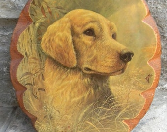 Vintage Dog Picture on wooden plaque