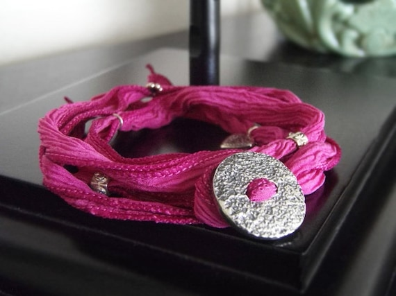 Yoga Wrap Bracelet - Adjustable Bracelet - Sport Bracelet - Strawberry Sundae #6-001