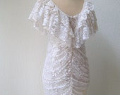 vintage 80's gorgeous diva white ruched lace, ruffle party dress