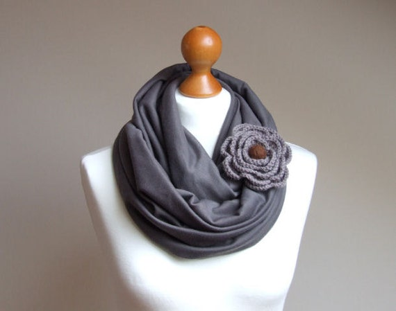 Infinity Fashion Circle Scarf Shawl Loop DARK TAUPE Scarf withh crocheted flower brooch flower pin