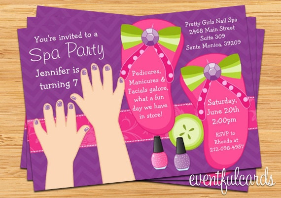Mani pedi spa party kids birthday invitation by eventfulcards il570xn stopboris Images