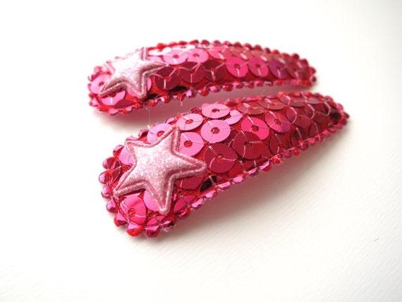 Girls Sequin Sparkle Barrettes - Glitter Stars - Hot Pink Pale Pink - Girly Girl Rocker Chic