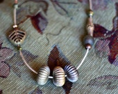 Vintage ribbed African brass beads necklace