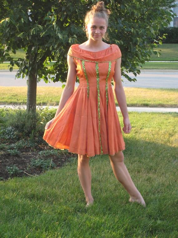 1950s Vintage Dress Pumpkin Orange Tafetta & Sequins (3048-W)