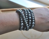 Beaded Leather Wrap Bracelet -Charcoal Pearls and  Black Leather