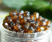 Faceted Round Czech Beads Glass Fire Polished Beads  4mm Transparent Dark Amber with Denim Picasso  (100pcs)