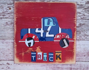 License Plate Art - Red Funky Transportation Truck Adventure Boys Nursery Room - Recycled Art Company - Salvaged Wood - Upcycled Artwork