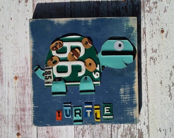 License Plate Artwork Turtle Beach Ocean Woodlands Aqua Green Personalized Name Boy Car Custom License Plate Art Recycled States
