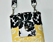 Black & White Damask and Dots with Yellow iPhone 5 6 Plus Phone Case with Wristlet and Back Zipper Pocket or Pink - Teal - Aqua - Red