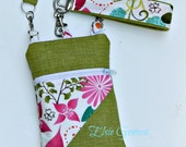 Chartreuse & Pink Bright Floral Phone Case Pouch with Wristlet  Optional Shoulder Strap Crossbody  iPhone 4 5 6 Plus Note Large