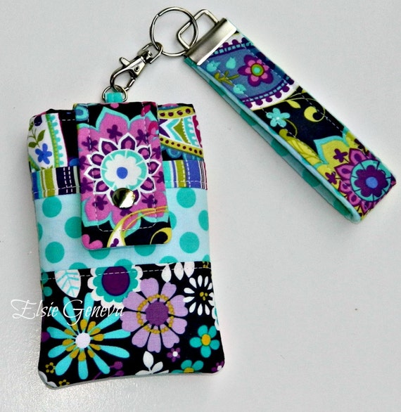 Grey, Purple, and Aqua Paisley Flowers Phone Case with Wristlet Ready to Ship