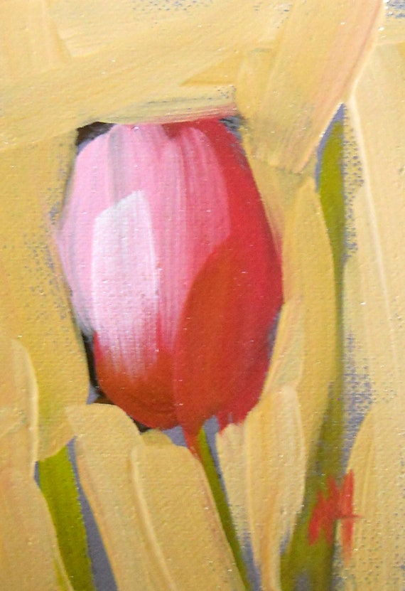 pink tulip original painting by moulton aceo