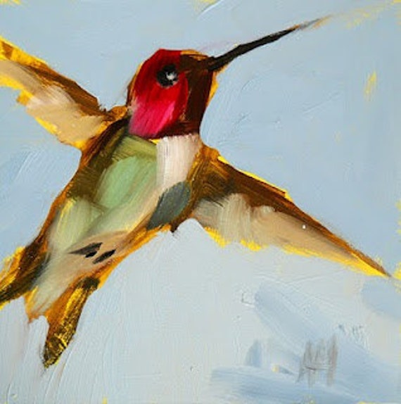 hummingbird in flight print by angela moulton 8 x 8 inches