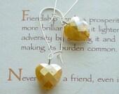 Yellow Love Heart, Canary Yellow Heart Drop Earrings, Yellow Heart Dangle Earrings, Yellow Teen Earrings, Summer Hearts