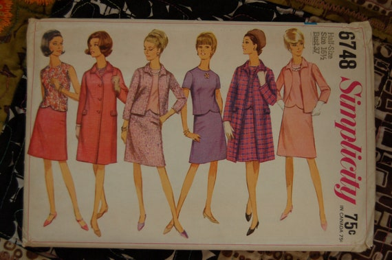 SALE 1960s Vintage Sewing Pattern - Simplicity 6748 - Coat, Jacket, Skirt and Blouse - Sz 16 1/2