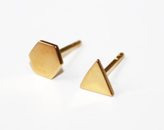 Mismatched triangle and hexagon stud earrings (yellow gold dipped) IN STOCK!