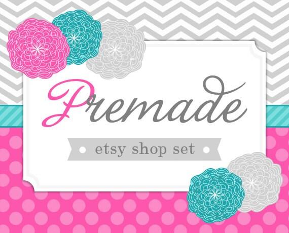 Pink, Aqua, and Gray Blossoms with Chevron and Polkadots- Premade Etsy Set