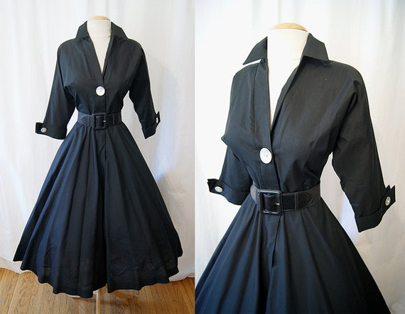 ON Hold  for Rosemary Chic 1950's new look day dress shell buttons w/ rhinestone accents rockabilly classic - size Med / Large