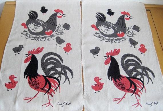 Vintage Tammis Keefe Linen Towels Chickens ON SALE