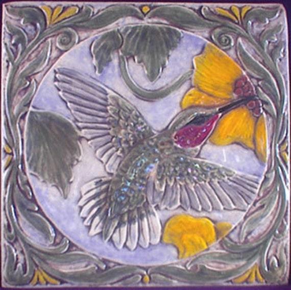 Decoratve relief carved ceramic humming bird tile