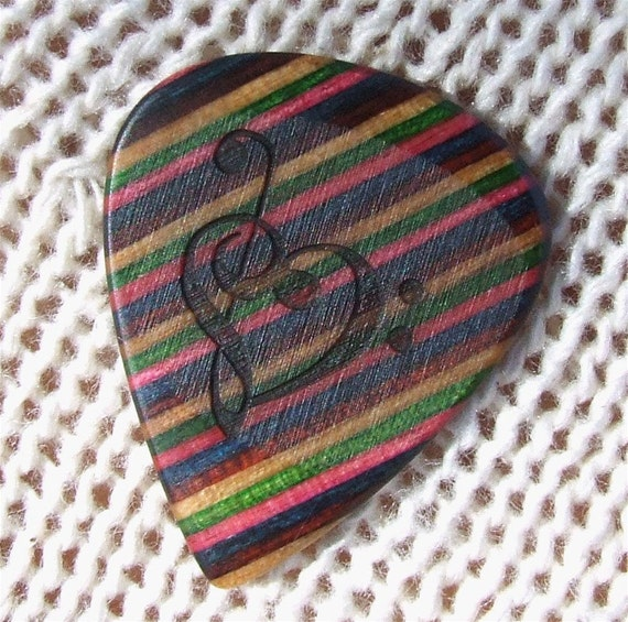 Treble and Bass Clef Heart - Custom Laser Engraved Dymondwood Handmade Premium Guitar Pick