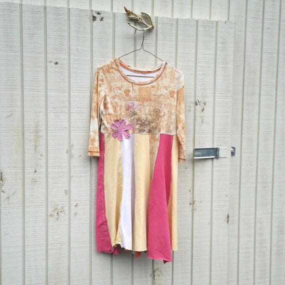 RESERVED - t-shirt dress / upcycled clothing / romantic Panel Dress by CreoleSha - women's clothing / romantic clothing
