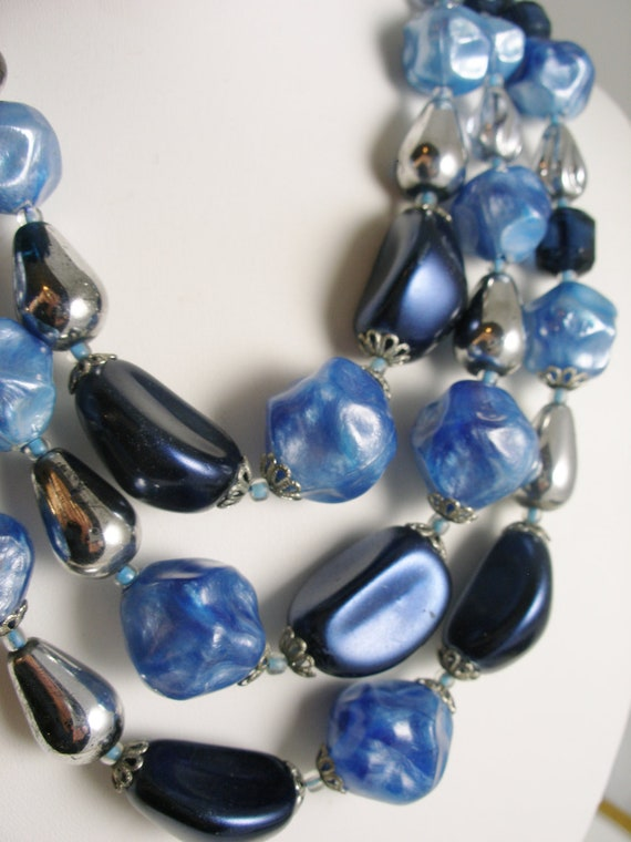 Vintage West Geman 3-Strand Mixed Blue Glass Bead Necklace