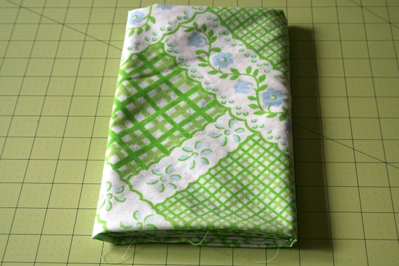 Vintage Reclaimed Fabric bed sheet linen Fabric lime green baby blue faux eyelet lattice plaid design Shabby chic quilt apparel craft Fabric