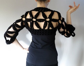 Black or Off White Color Acrylic Yarn Crochet Flowers Wedding Bridal Shoulder Shrug Bolero Sleeves
