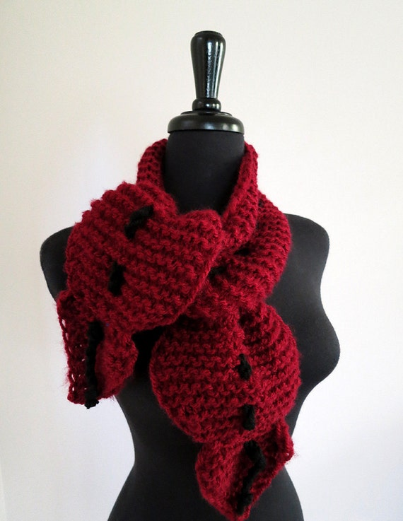 FREE US SHIPPING - Pinot Noir Wine Pomegranate Color Knitted Ruffled Scarf Collar Lariat Necklet Scarflette with Black Cord Ties