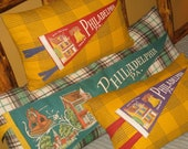 Camp Pillow Philadelphia Souvenir Pennant Lodge Look Decor Unique Gift Camping Glamping Pillow Mustard Color Gold Plaid