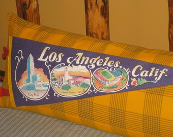 Los Angeles California Pillow Souvenir Pennant Bolster Pillow NEW Feather Down Form Unique Gift Big Pillow Vintage Banner OOAK Golden