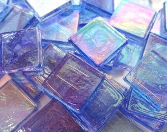 """15mm (3/5"""") Blue Transparent Glass Mosaic Tiles//Mosaic Supplies//Mosaic//Crafts"""