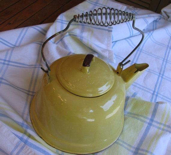 Yellow Speckled Enamelware Granite Ware Tea Kettle