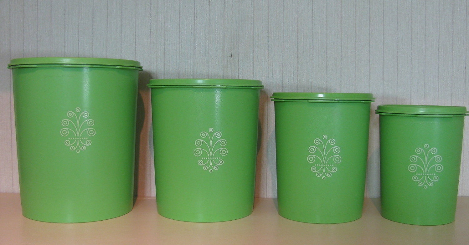 full set of lime green tupperware canisters