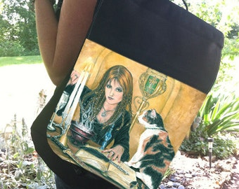 Sorceress and Her Cat Art Backpack With Changeable Hand Pressed Flap