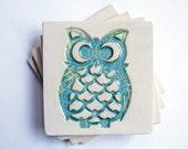Owl Coasters, Aqua, (Ceramic, Pottery, Set of 4) Handmade - Makes a great housewarming, back to school or birthday gift
