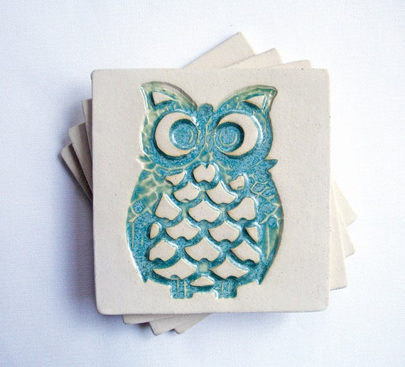 Owl Coasters, Aqua, (Ceramic, Pottery, Set of 4) Handmade - Makes a great housewarming, back to school or birthday gift