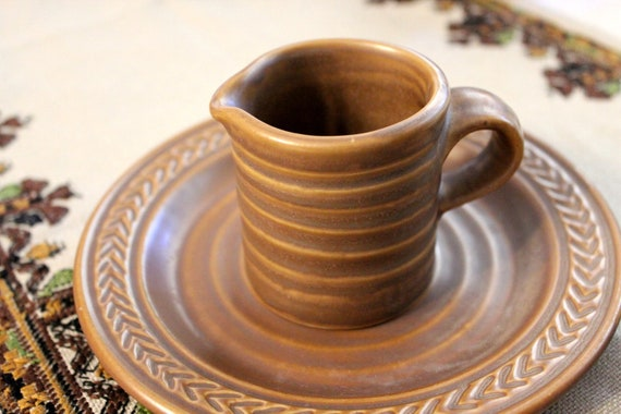 Hall Creamer Pitcher 2641 -  - Amano Lenox Pattern Matte Brown - Swirl Rings RInged