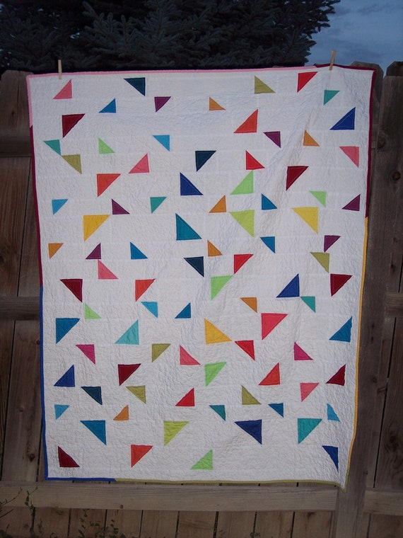 Triangle Toss Lap Quilt - Modern Colorful Patchwork  Handmade