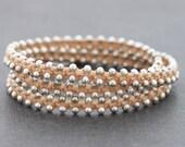 Nude Stud Silver Wrap Beaded Bracelet